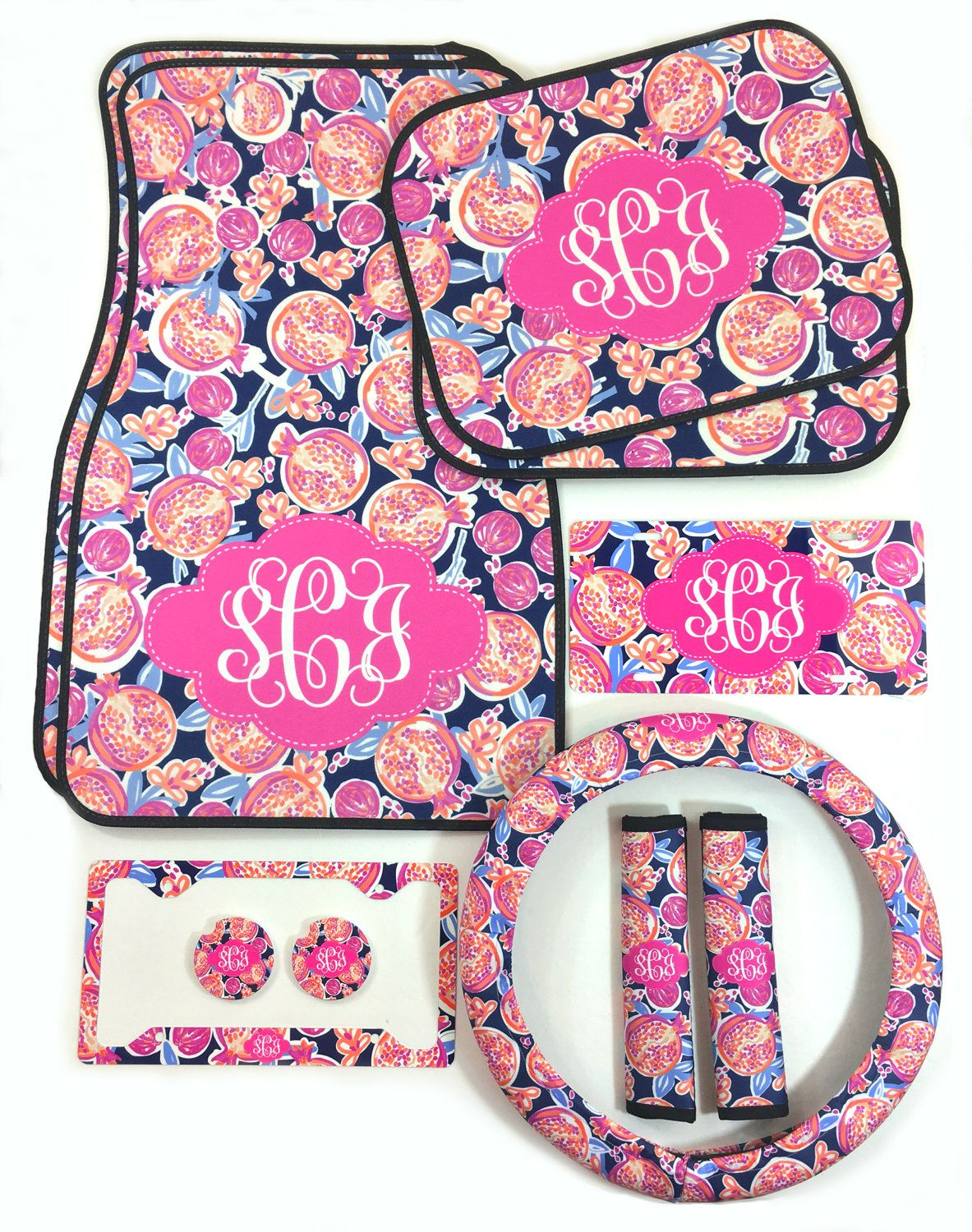 monogrammed car accessories set car floor mats steering wheel cover seat belt covers license. Black Bedroom Furniture Sets. Home Design Ideas