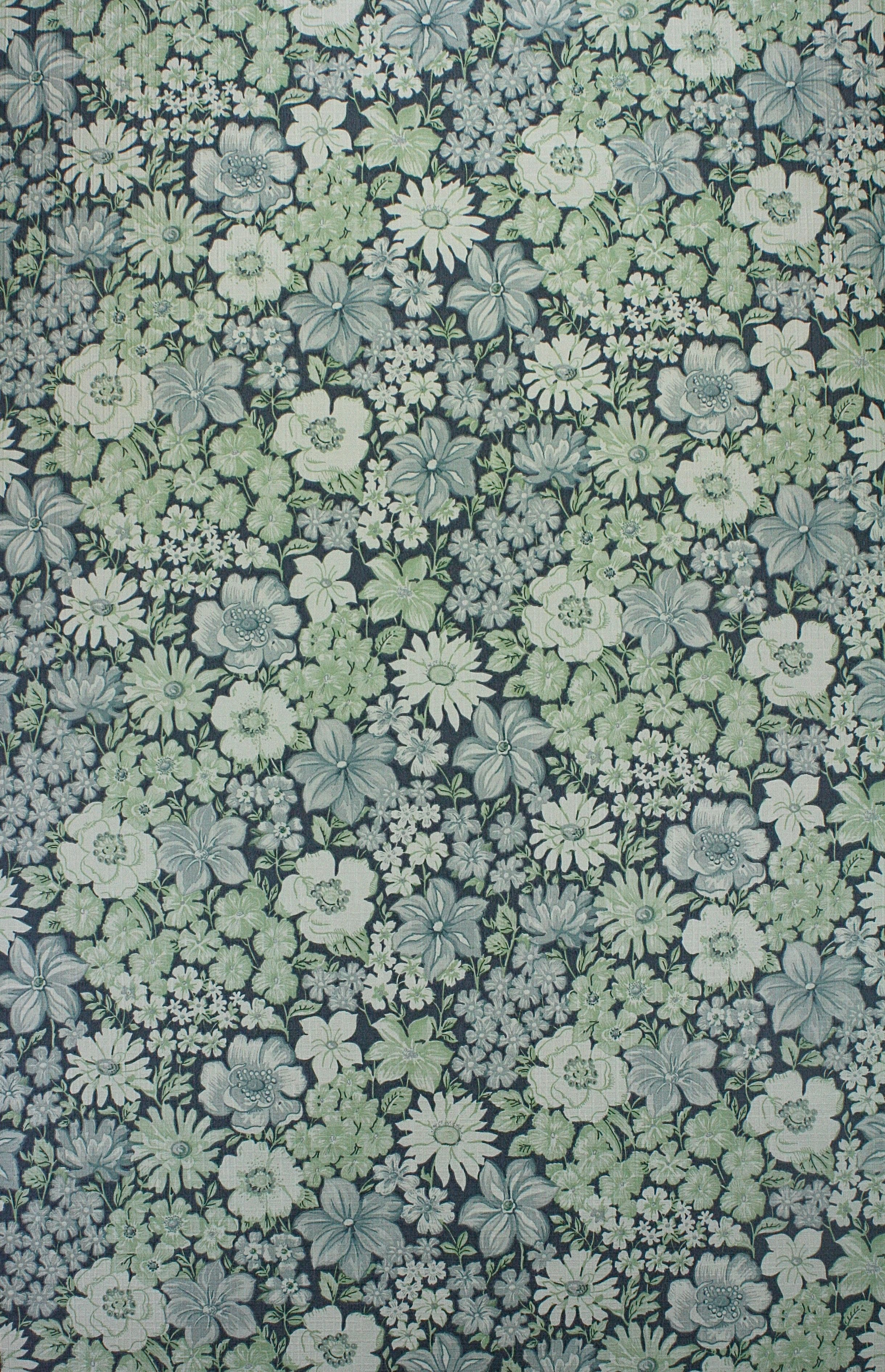 Vintage Blue Floral Wallpaper In 2020 Blue Floral Wallpaper