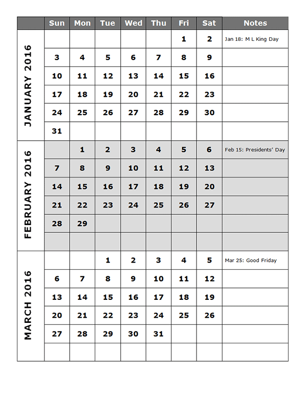Quarterly Calendar Template P  Free Printable Templates