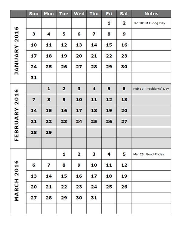 Superieur 2016 Quarterly Calendar Template 14P   Free Printable Templates