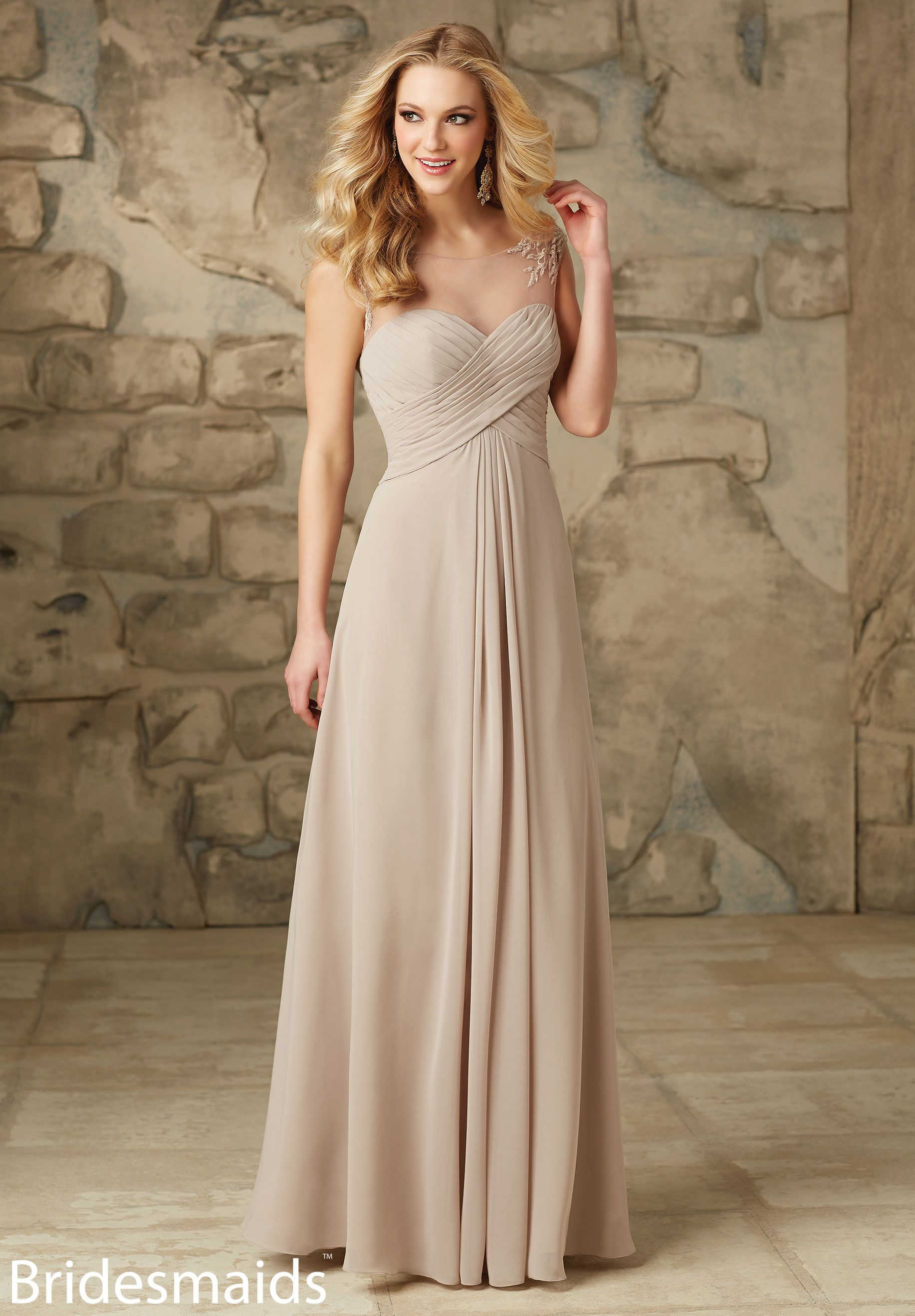 Bridesmaids dresses chiffon with embroidery chiffon with embroidery shop the mori lee 106 bridesmaid dress this long chiffon gown features an illusion neckline sweetheart bodice and gathered a line skirt ombrellifo Images