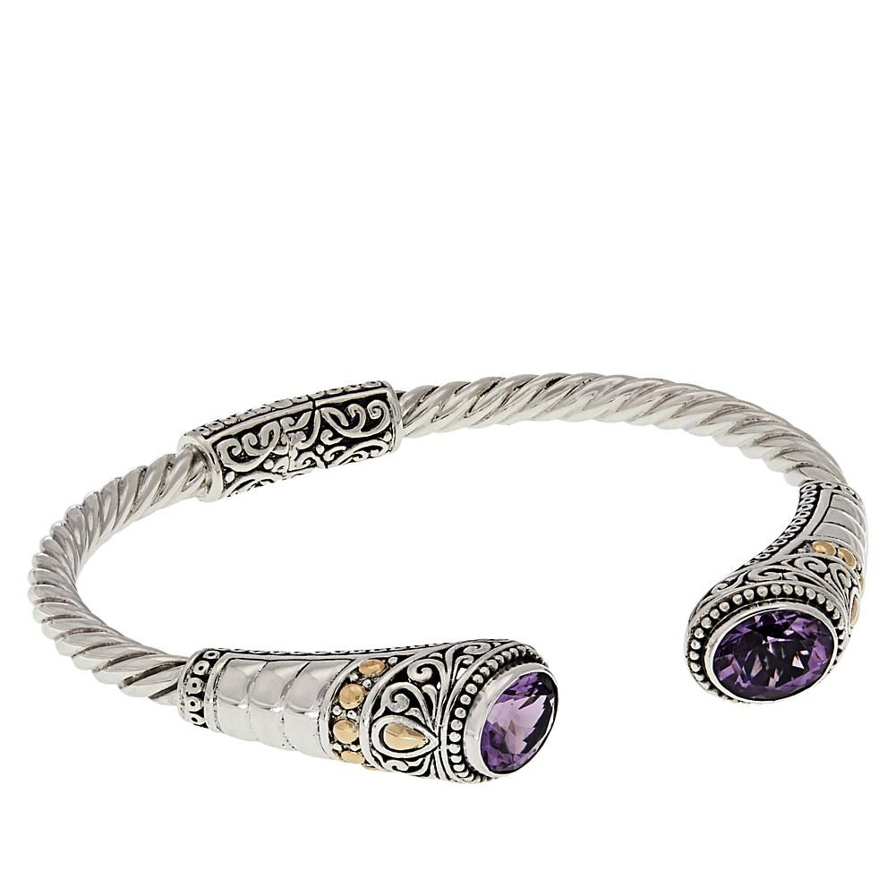 ab45171e311 Bali Designs by Robert Manse Bali Designs Oval Amethyst Cable Cuff Bracelet