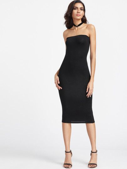 1235f1955f Bandeau Midi Bodycon Dress -SheIn(Sheinside) | goo d | Dresses ...