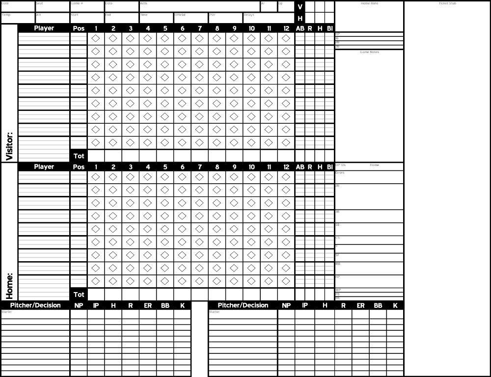 baseball score sheets Printable Pinterest Baseball scores - baseball score sheet