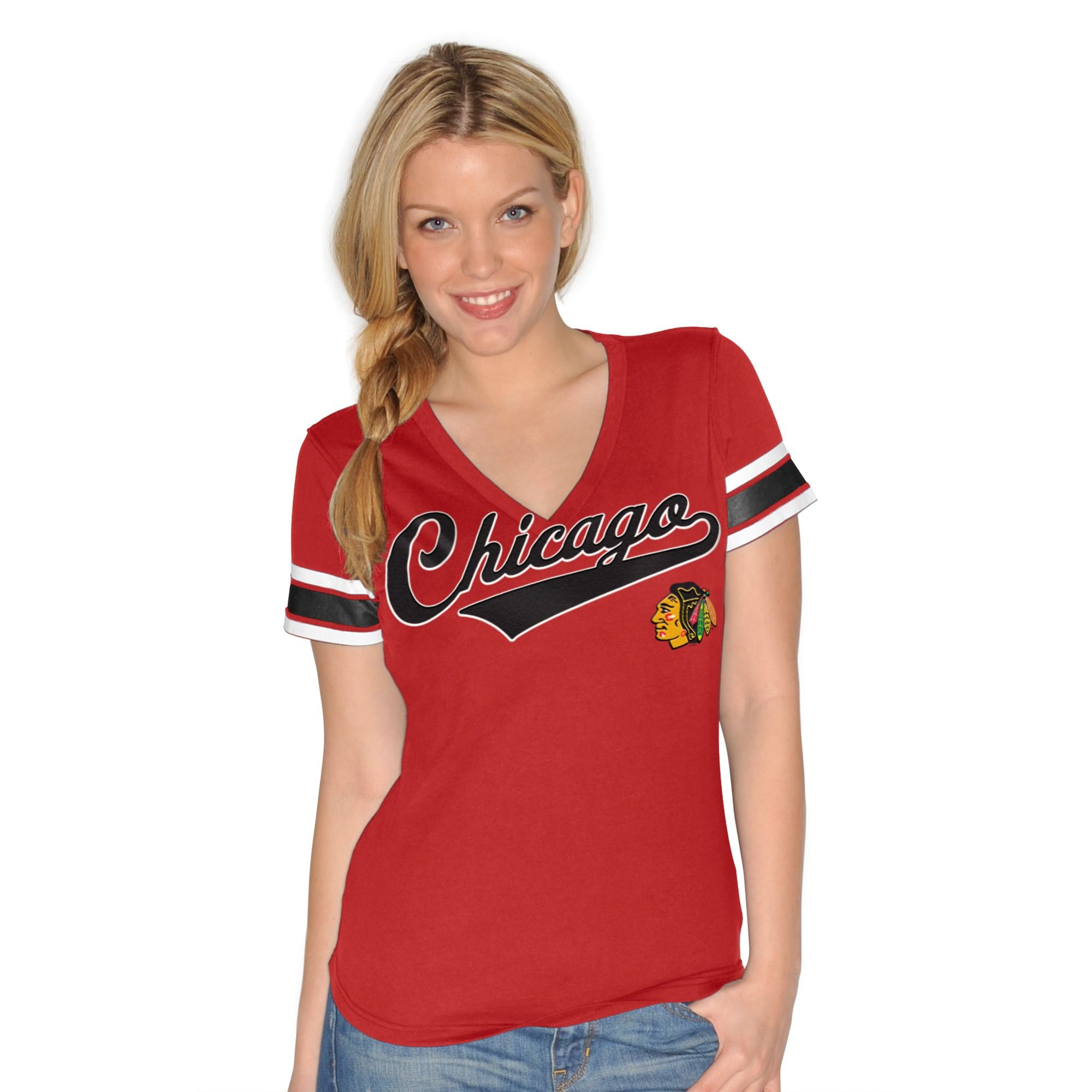 Chicago Blackhawks Red Ladies V-Neck Jersey Shirt by G-III 4Her ... 52f1abf07
