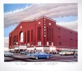 Olympia Stadium Lithograph Autographed by The Production Line: Howe, Lindsay, Abel - Autographed NHL Photos * Continue to the product at the image link.