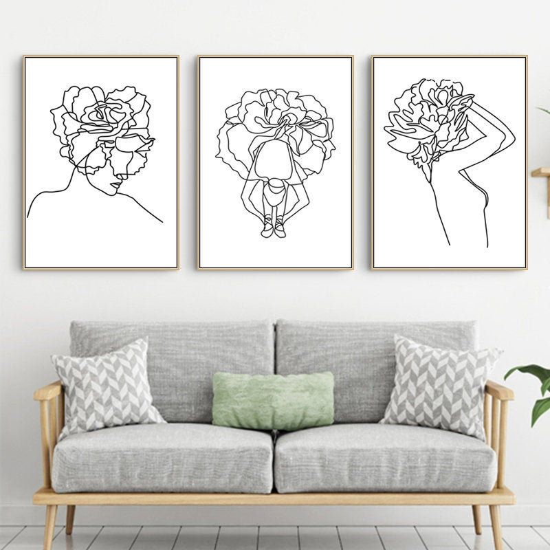 Women Line Print 3 Piece Wall Art Pastel Art Downloadable Etsy Apartment Wall Art Trendy Wall Art Simple Wall Art