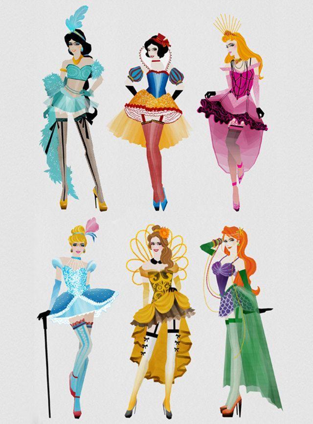 Disney Princesses as Moulin Rouge dancers