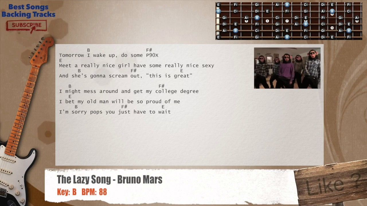 The Lazy Song Bruno Mars Guitar Backing Track With Chords And
