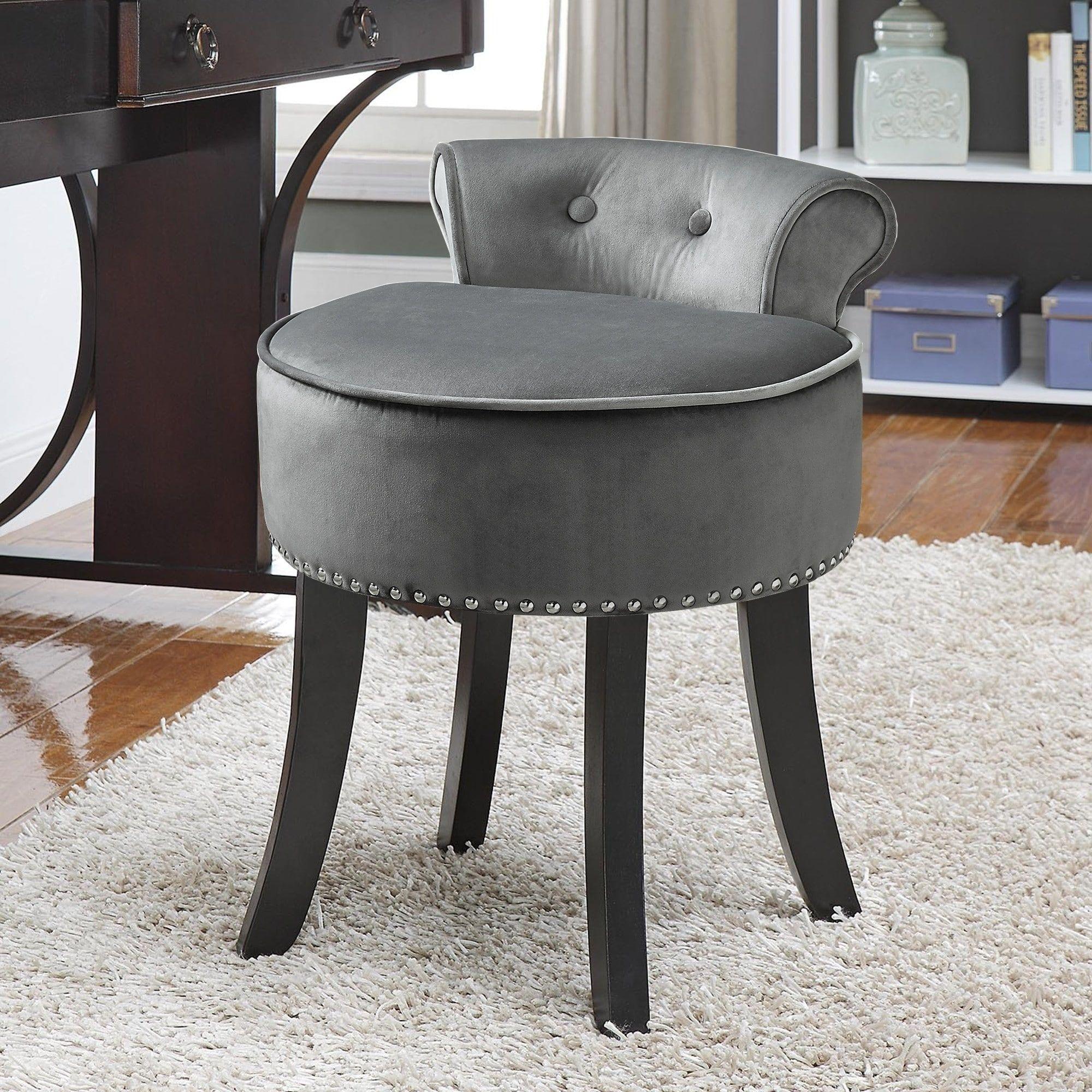 Copper grove meghri velvetupholstered vanity stool with