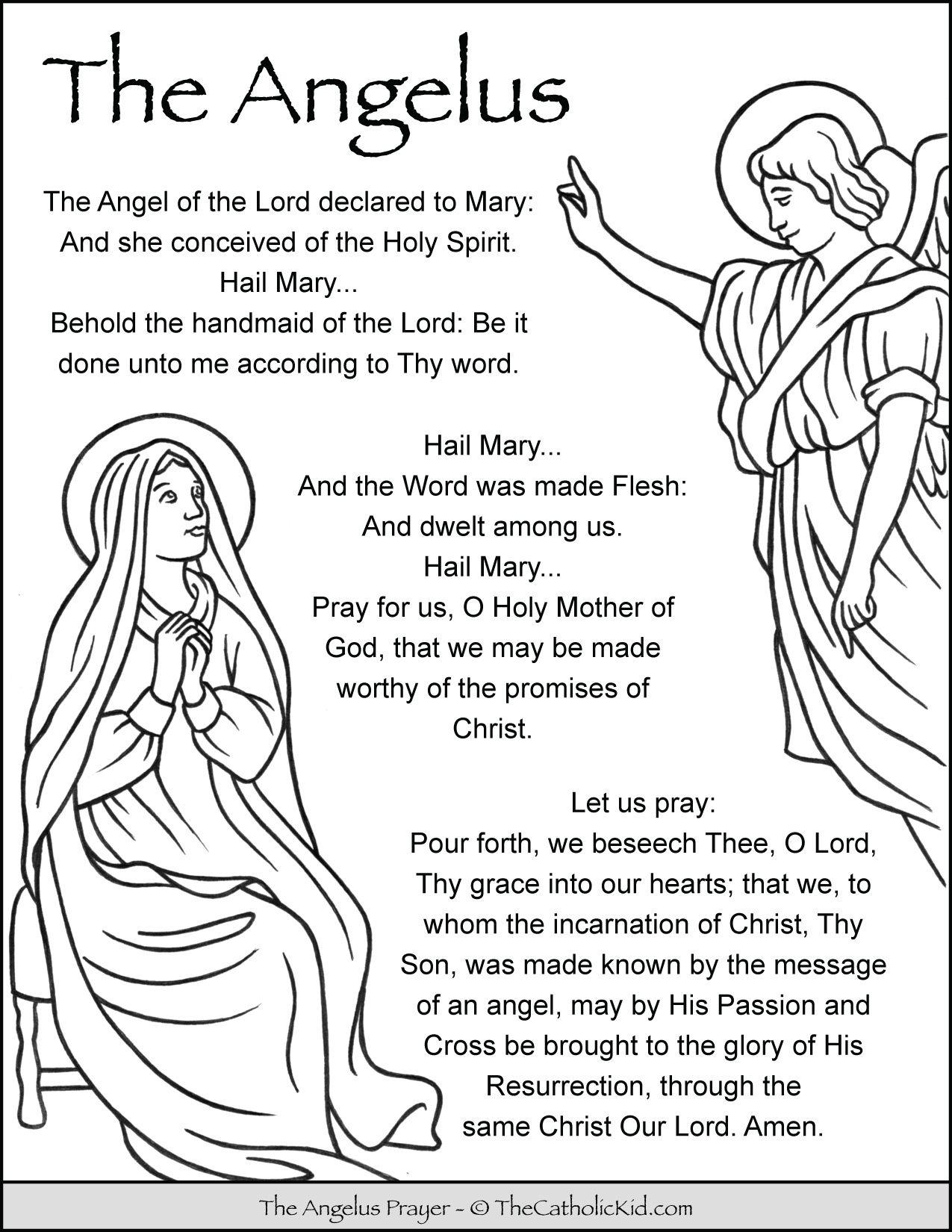 Angelus Prayer Coloring Page Thecatholickid Com Prayers To Mary Prayers Prayers For Children