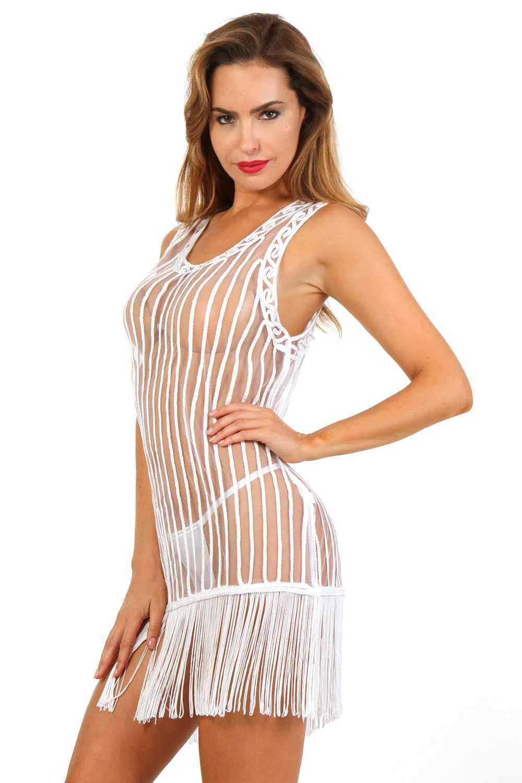 dfa72e4855 Robe+blanche+d'été+à+porter+sur+son+maillot+de+bain,+transparente,+ ...