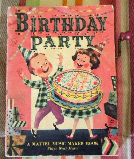 Vintage Mattel Music Maker Book Happy Birthday Party 1952