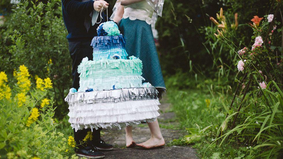 Make an ombre wedding cake piñata!