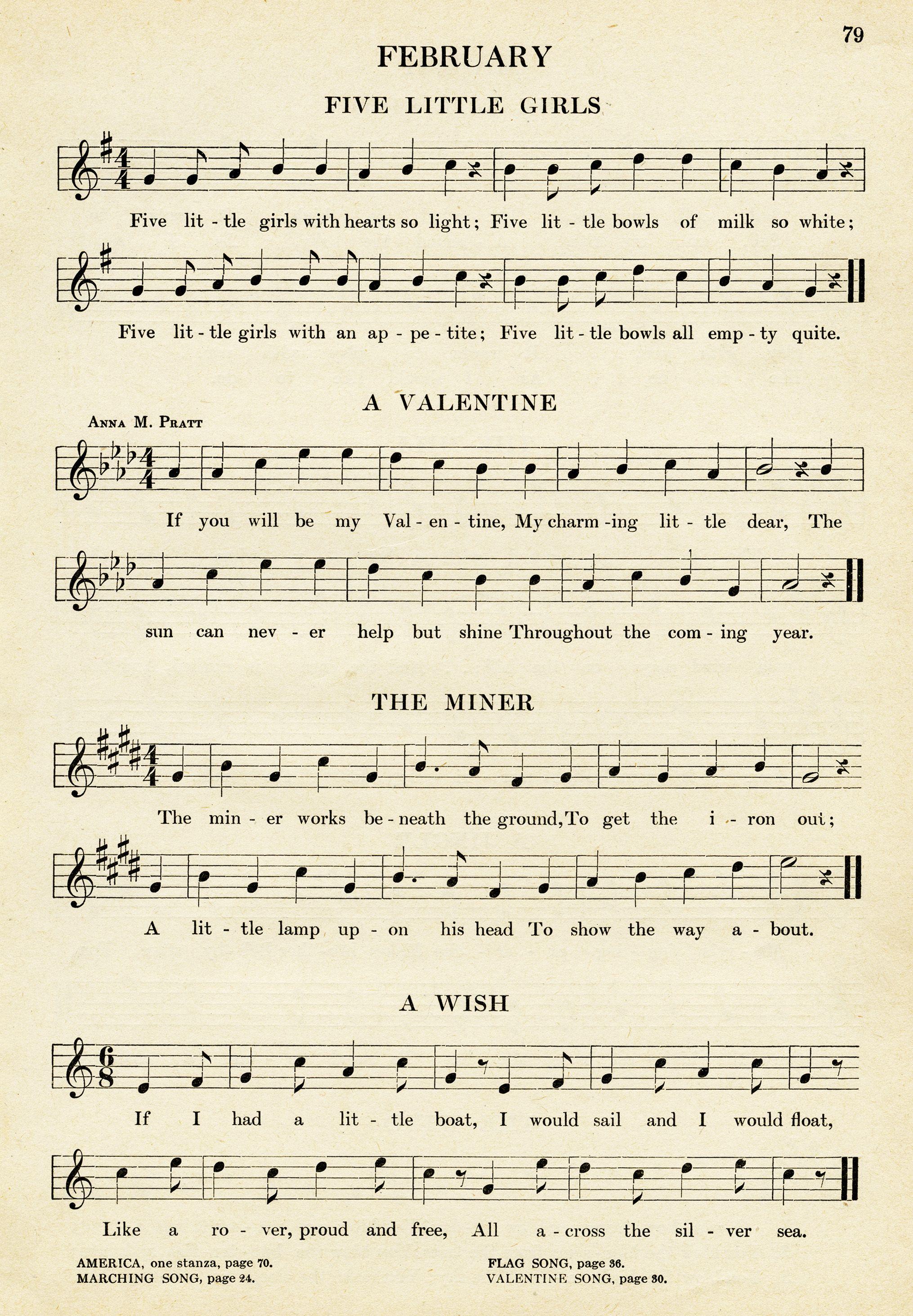 Vintage Sheet Music Songs For February Kindergarten Music Easy Songs For Children Old Book