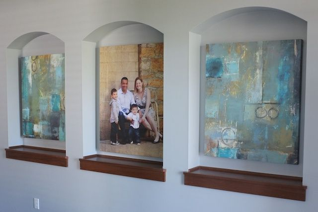 Art For Foyer : Family portrait and abstract art in the foyer niche foyers