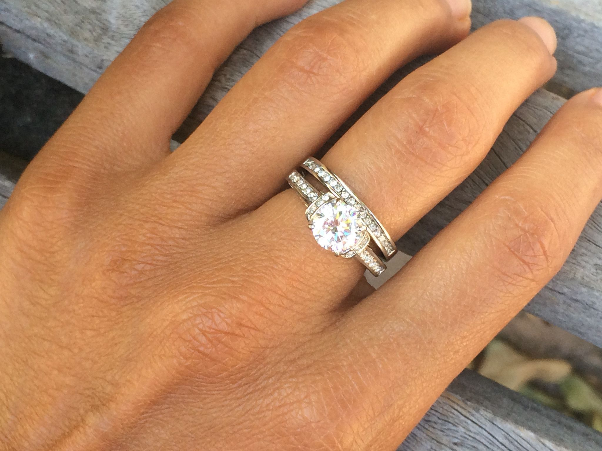 316L Stainless Steel Solitaire Engagement and Plain Band Wedding
