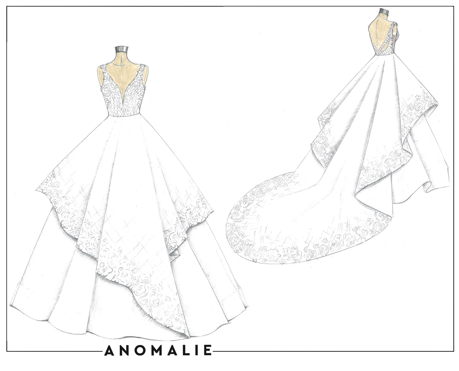 Anomalie Custom Wedding Dress Review Sketch Wedding Dress Drawings Wedding Dress Sketches Custom Wedding Dress Sketch