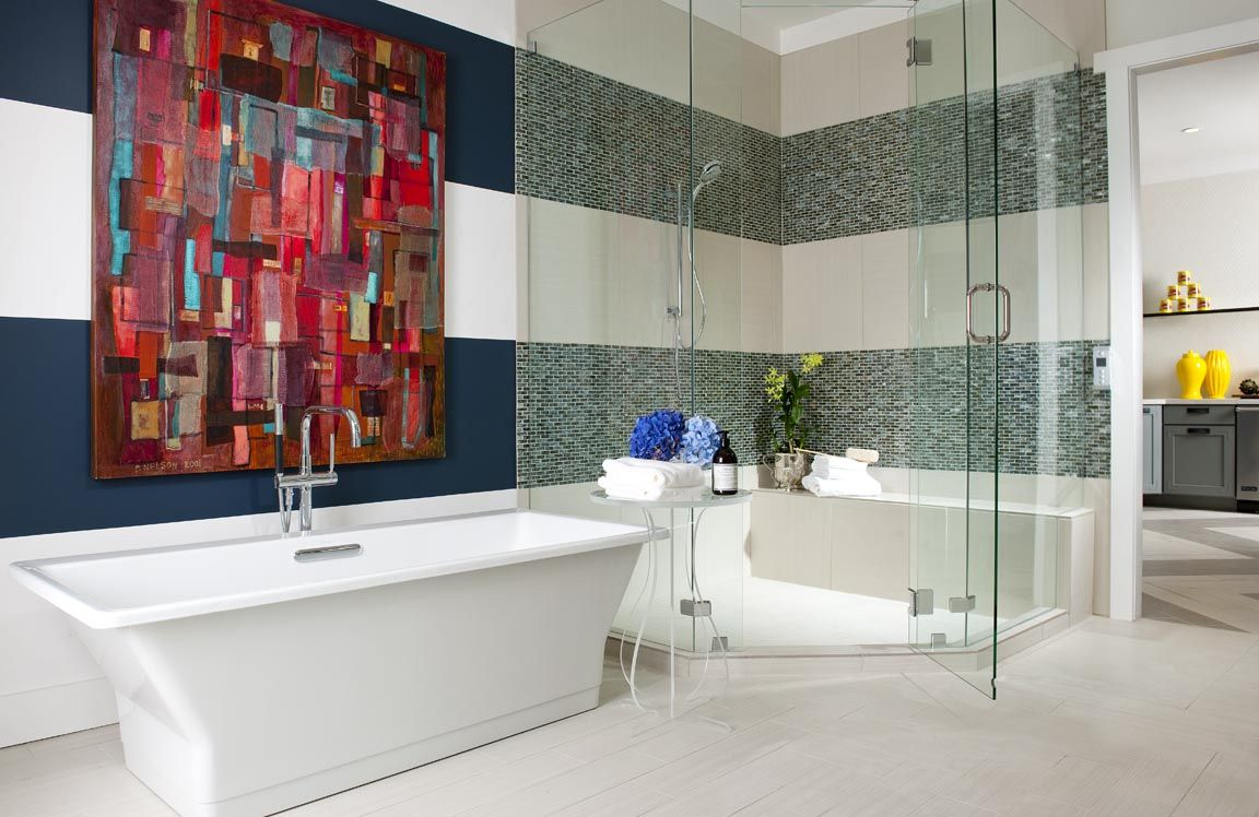 Gorgeous art, bath designed by Denise McGaha Interiors