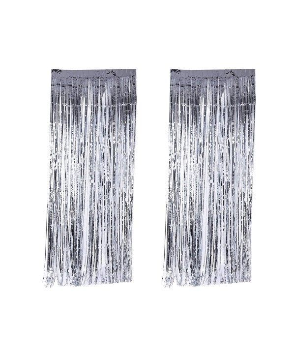 2 Piece Silver Shiny Shimmering Foil Fringe Door Curtain Window Wall Party Decoration Birthday Holiday Christmas New Years Wedding Party Photography Supplies Di