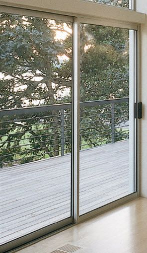 Milgard Aluminum Sliding Door Shown In Clear Anodized Sliding Glass Doors Patio Aluminium Sliding Doors Aluminium Windows And Doors