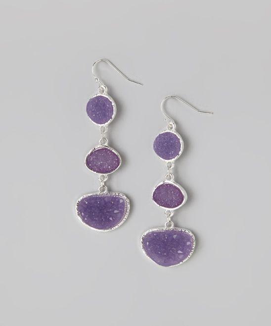 Purple Druzy Drop Earrings