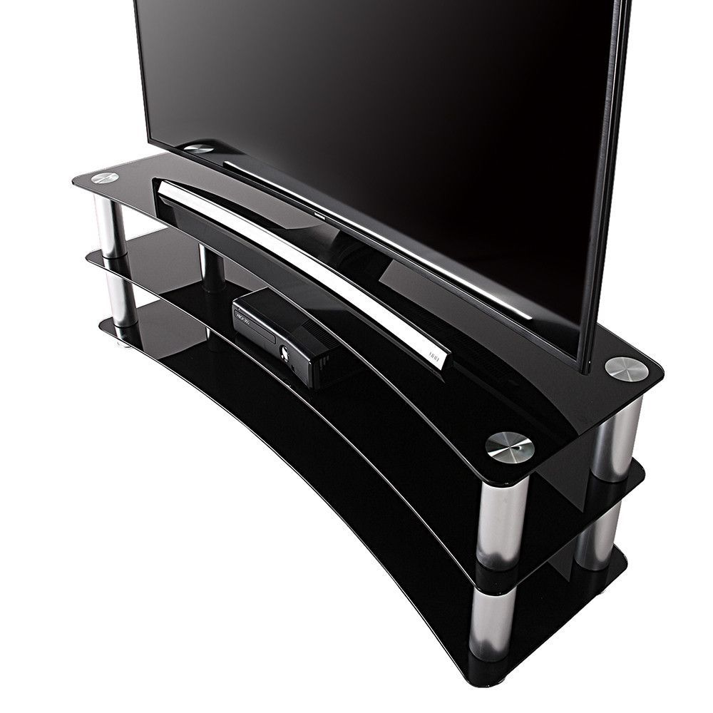 Tv Stand Entertainment Center Media Furniture Fit Curved Screen Tv  # Meuble Tv Curved