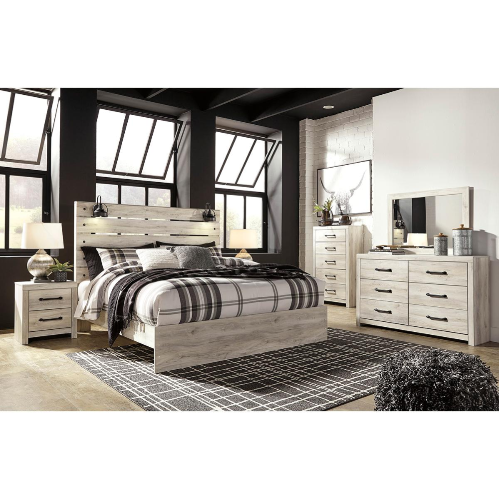 Signature Design By Ashley Cambeck 4 Piece King Bed Set In Whitewash With Lighting King Bedroom Sets Panel Bed Bedroom Sets