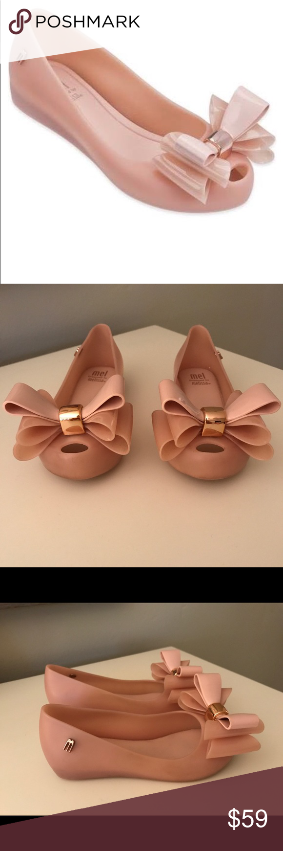 Shoes for light pink dress  Mini Melissa childus ultrabow shoe light pink  Melissa shoes Dress