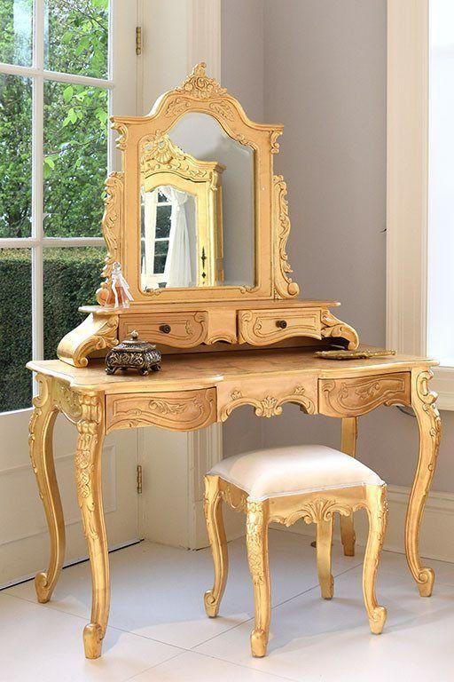 Dressing Mirror   La Rochelle Dressing Table U0026 Stool Gold Leaf