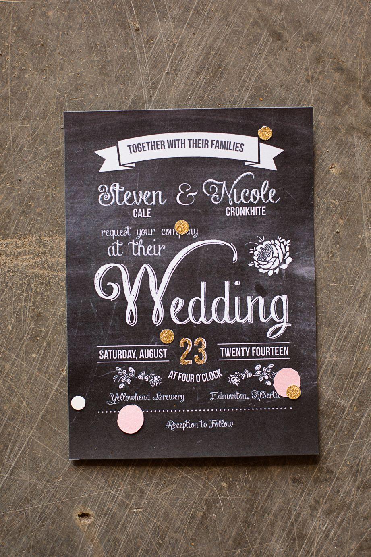 Chalkboard wedding invitation for brewery wedding gold and blush chalkboard wedding invitation for brewery wedding gold and blush confetti inside filmwisefo Choice Image