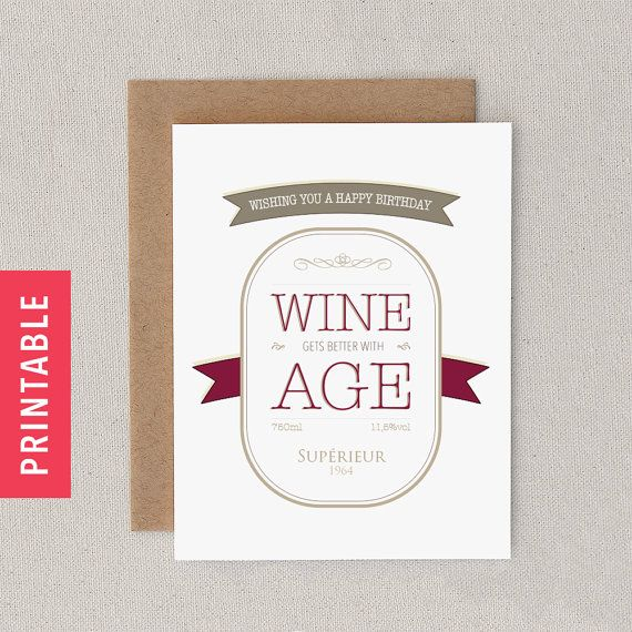 Funny PRINTABLE Birthday Card PDF For Friend, Man, Woman Snarky