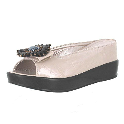 Helens Heart Womens Cream Wedge Slide Sandals 11 Cream >>> To view further  for