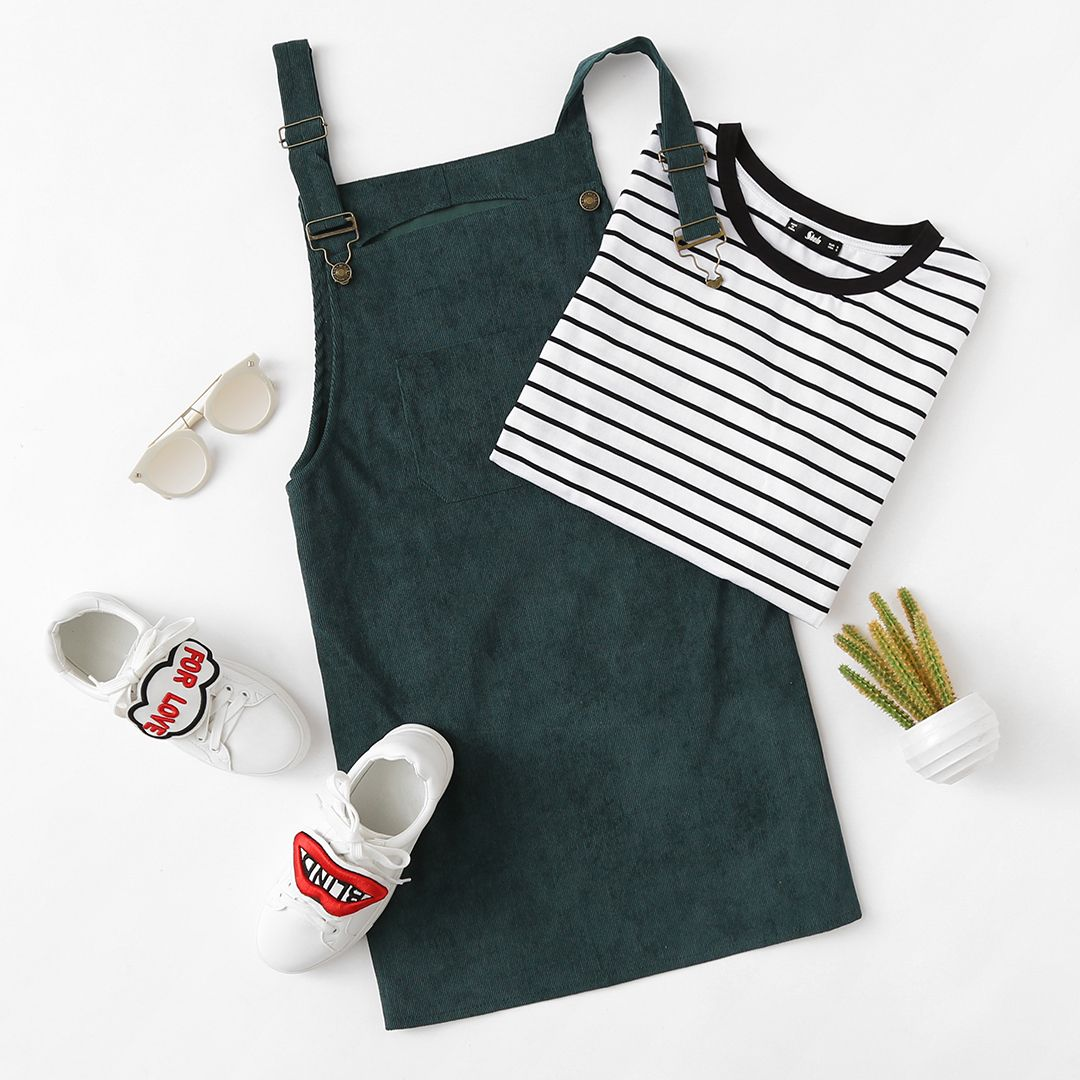 Front Pocket Corduroy Overall Dress In