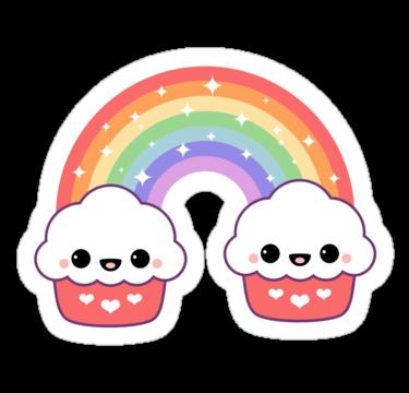 Super cute rainbow cupcake stickers