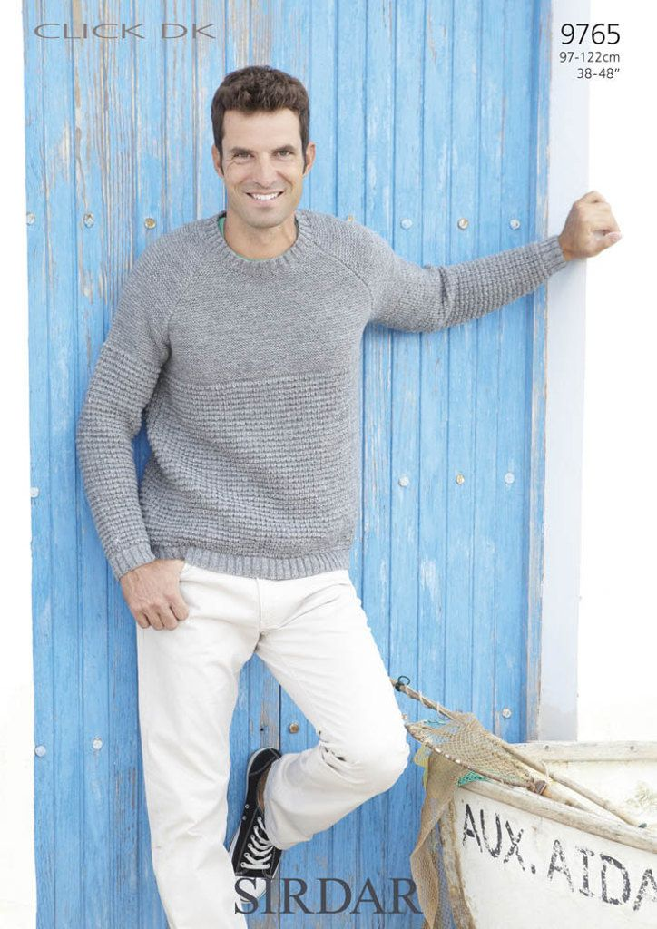 Sirdar 9765 Knitted Sweater For Men in #3/DK weight yarn ...