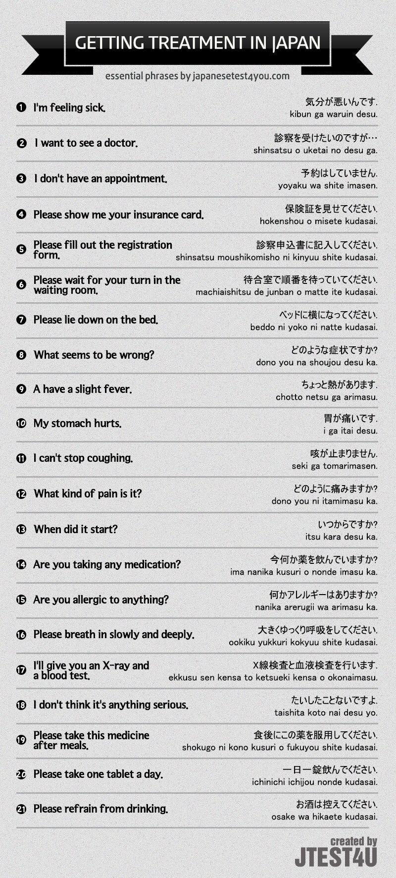 Medical Phrases Wanderlust Pinterest Japanese Phrases