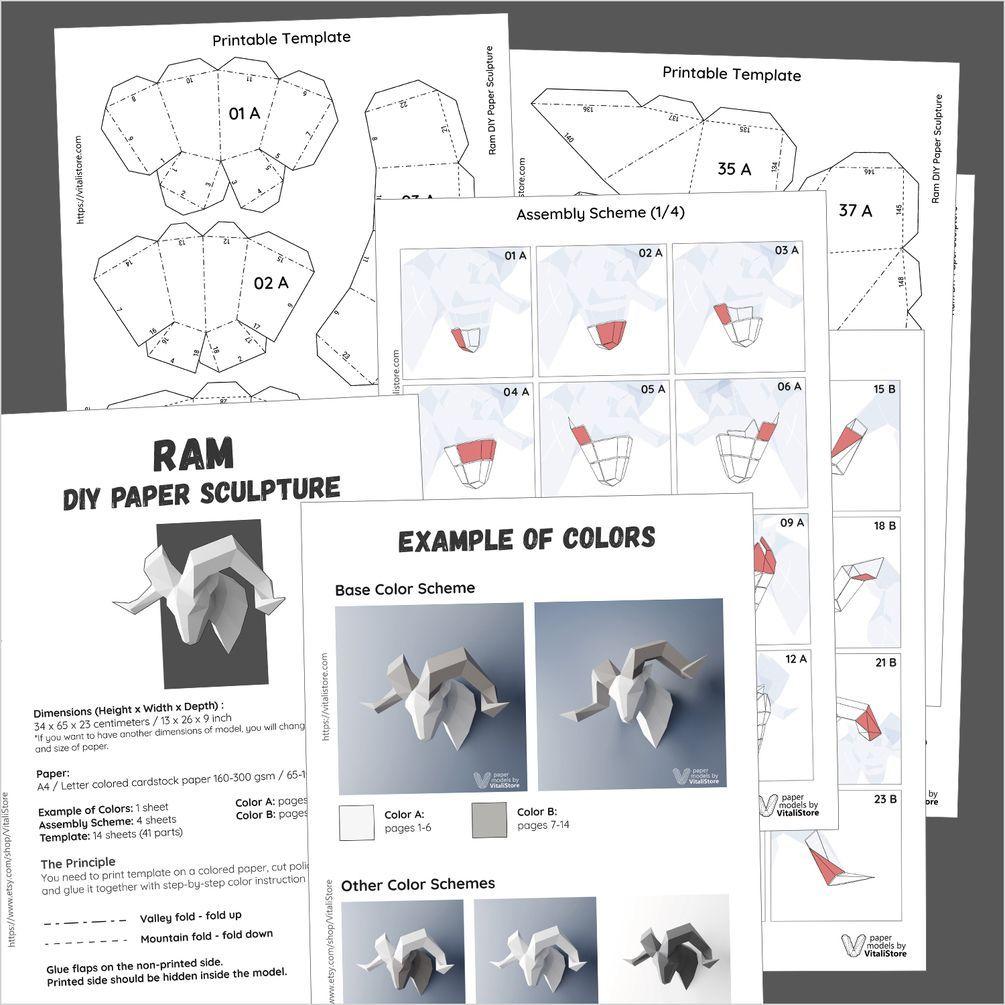 Ram Papercraft, DIY Paper Sculpture, Wall Decor Your