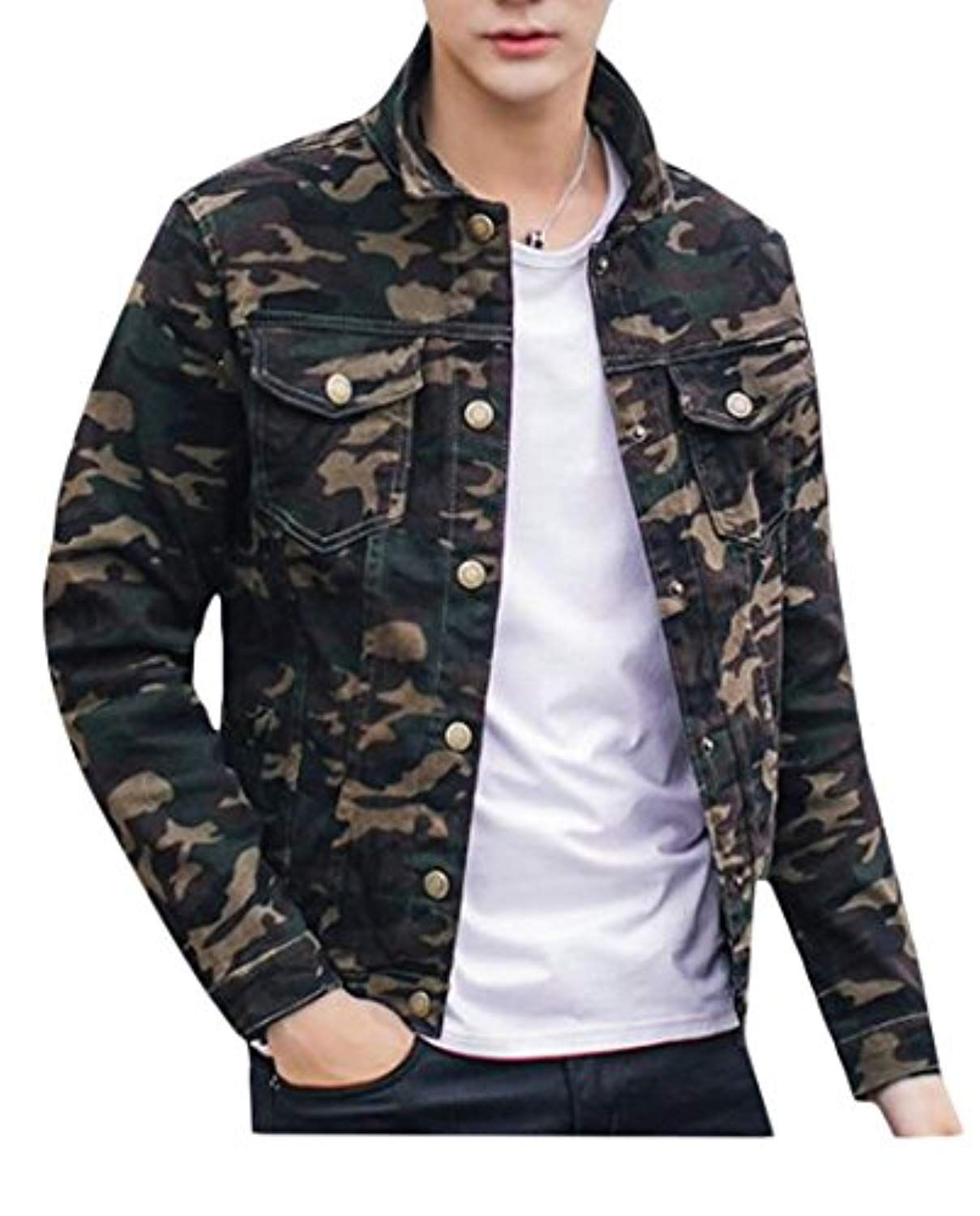 Uuyuk Mens Classic Slim Camo Outdoor Pockets Army Denim Jacket More Info Could Be Found At The Image Url This Is An Affiliate Li Denim Jacket Jackets Denim [ 1500 x 1209 Pixel ]
