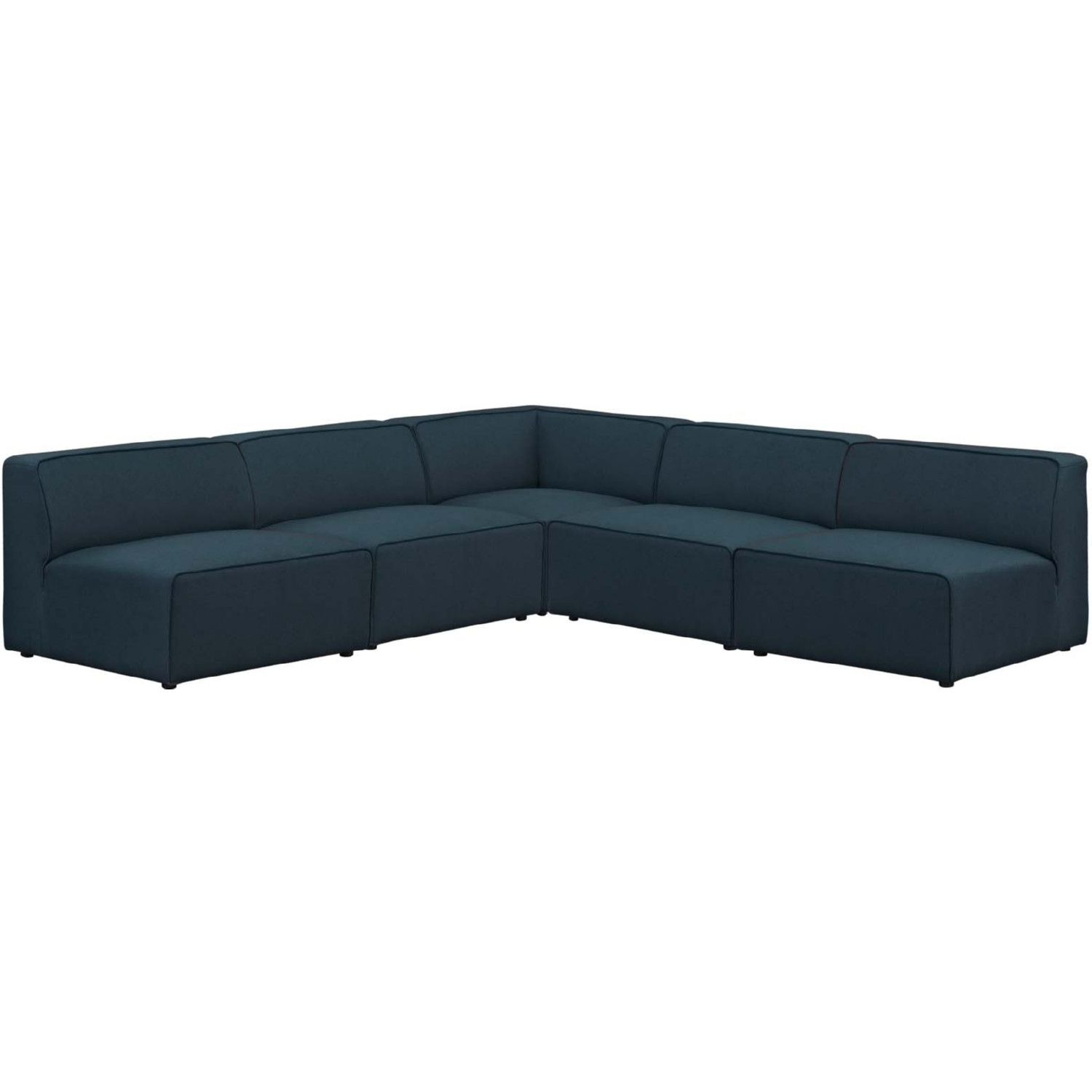 Best Modway Mingle 5 Piece Sectional Sofa Set Blue Fabric In 640 x 480