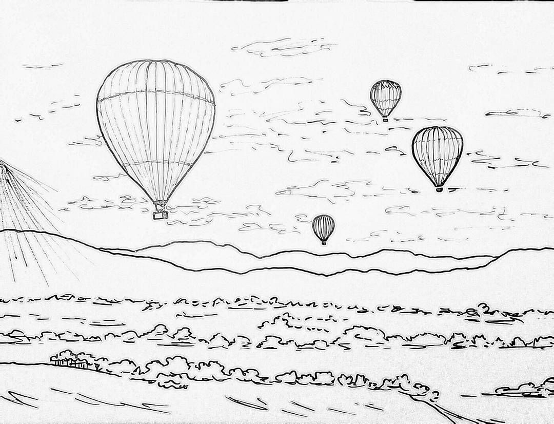 Hot Air Balloons Traceable Coloring Sheet Angelafineart