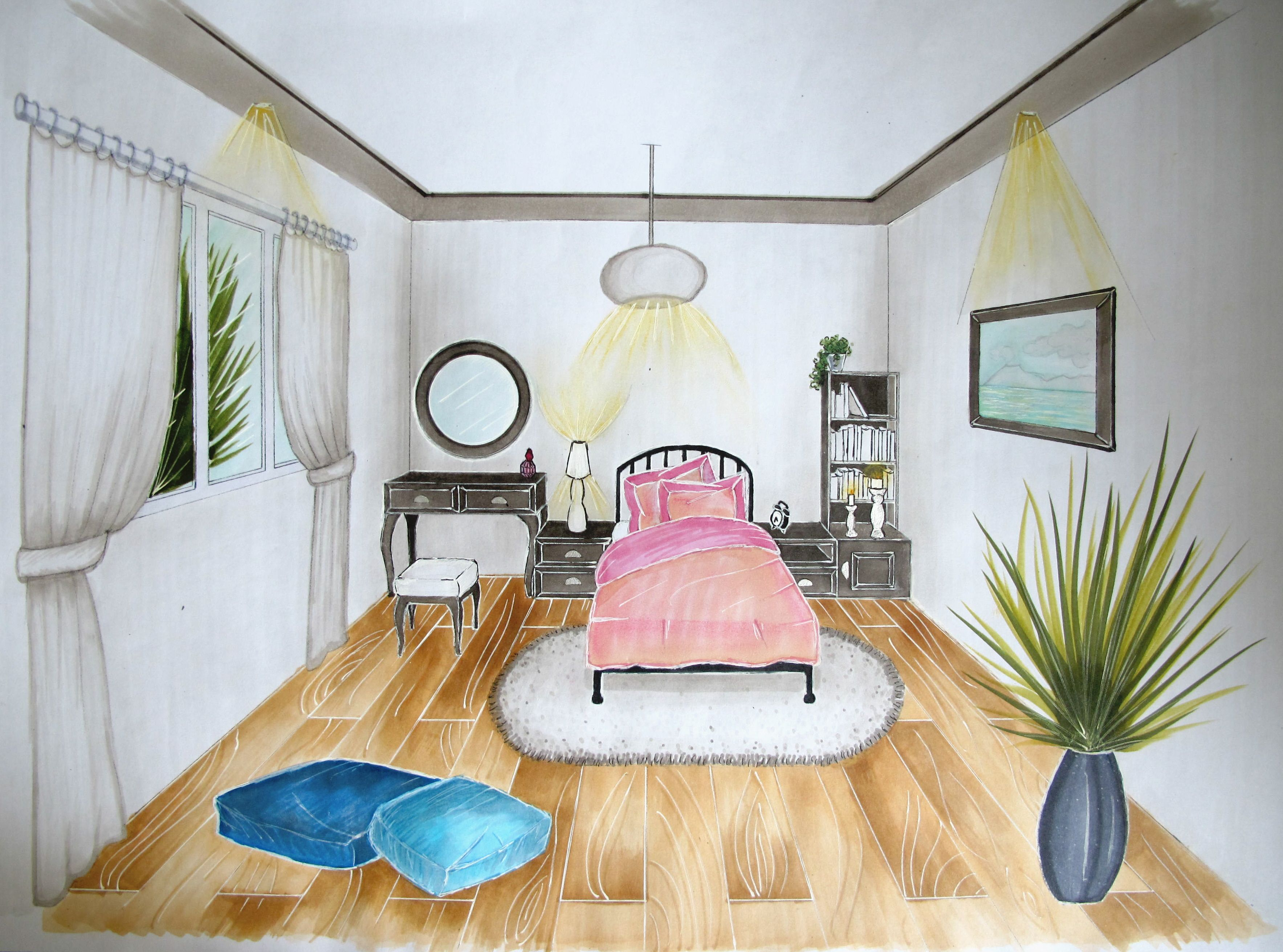Bedroom Drawing One Point Perspective One Point Perspective  Lessons  Tes Teach