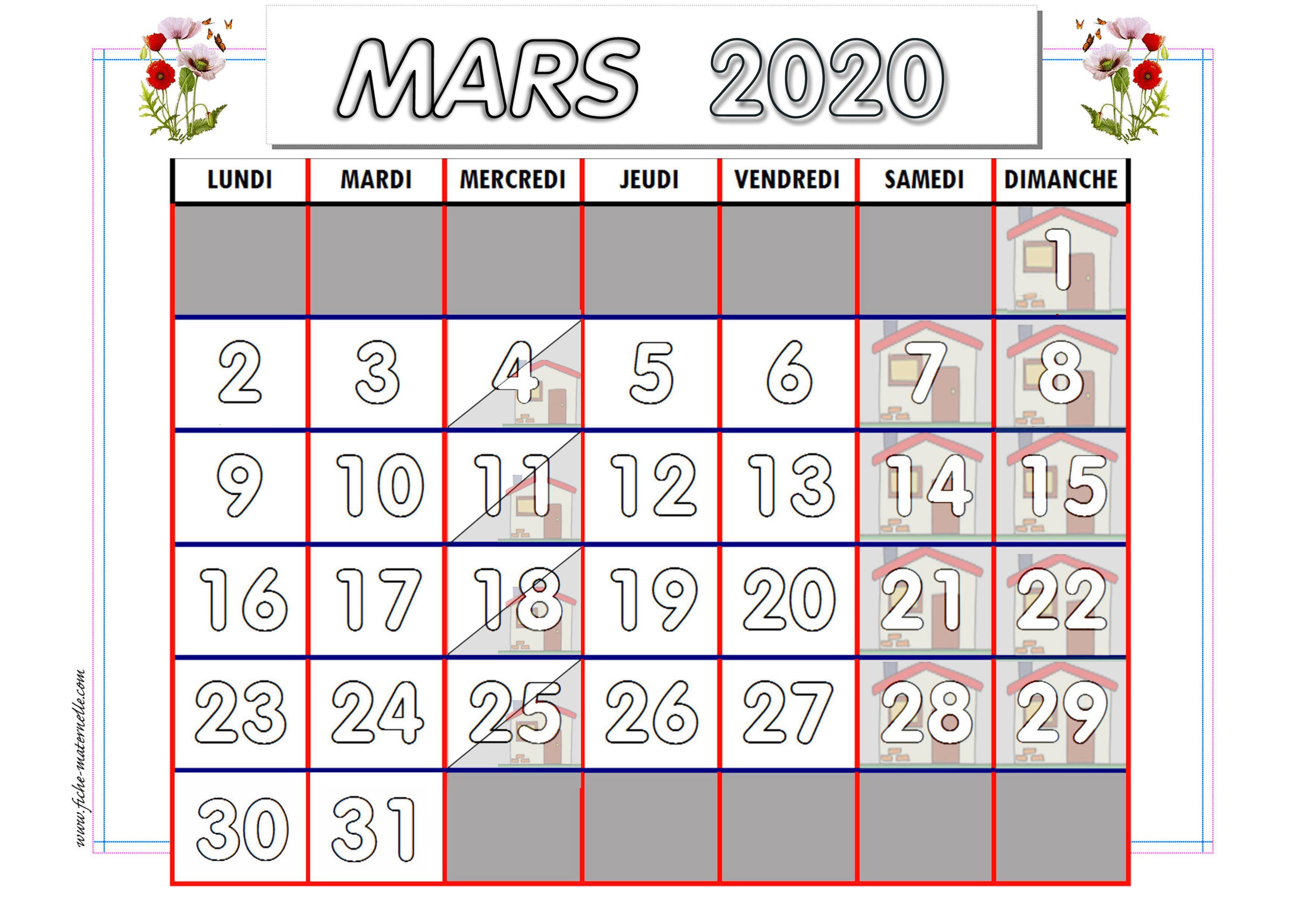 Calendrier Mars 2021 Maternelle Calendrier adapté aux maternelles et préscolaires 2019 2020 en
