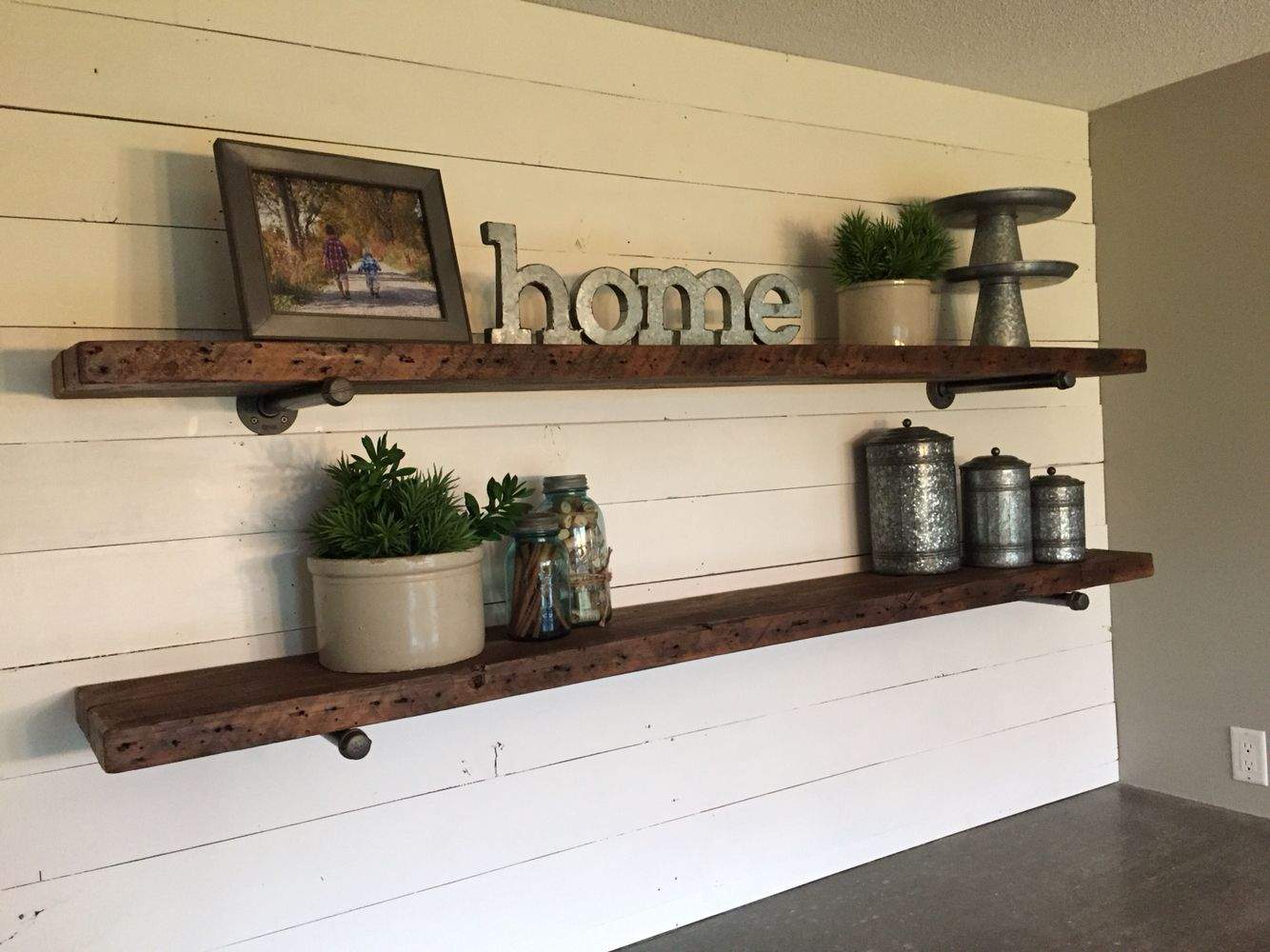 Floating shelves and shiplap wall  | Family room in 2019