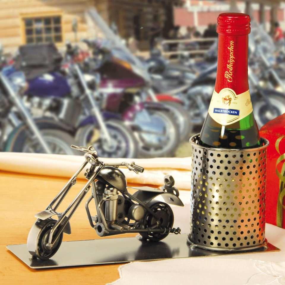 biker geschenk flaschenhalter shopper aus poliertem. Black Bedroom Furniture Sets. Home Design Ideas