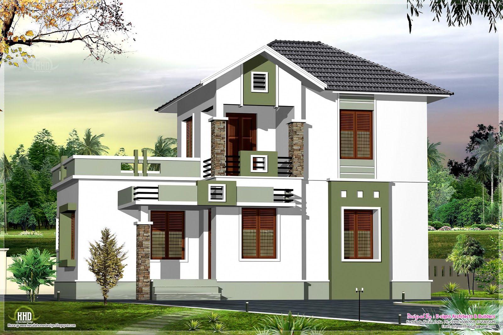 Small double floor home design sq feet house design plans kerala style single floor house plan