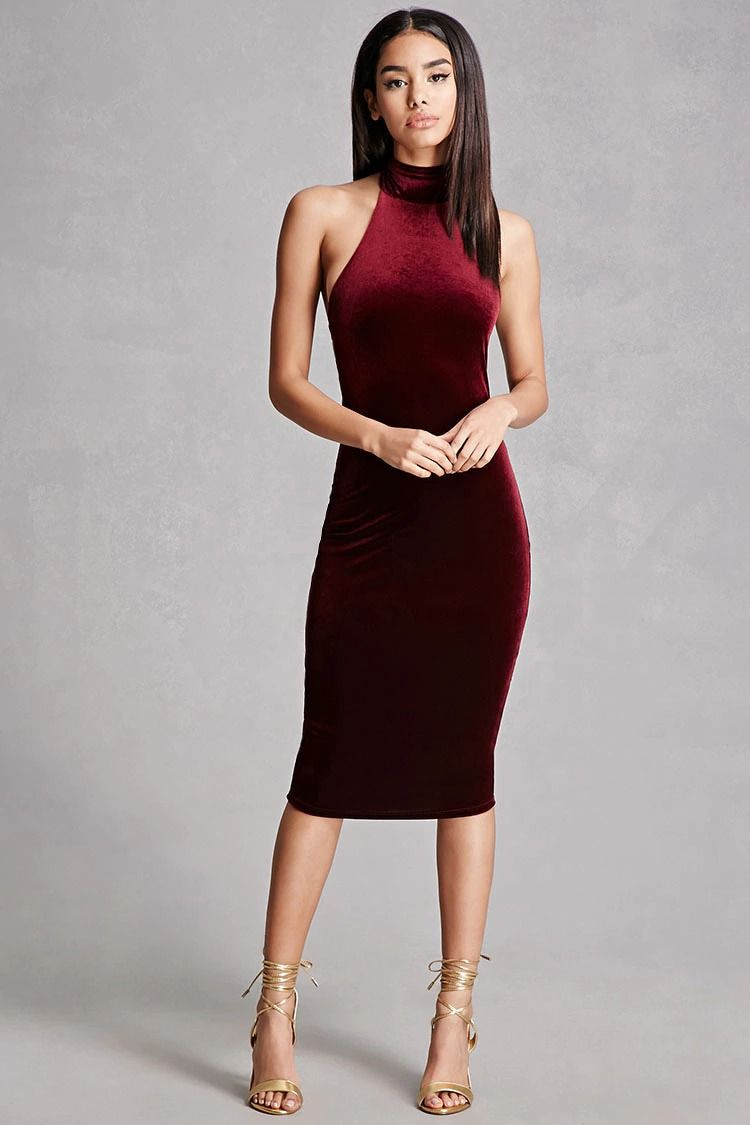 5a1eab9a7aa A knit velvet dress featuring a mock halter neck with self-tie straps and a  bodycon silhouette.