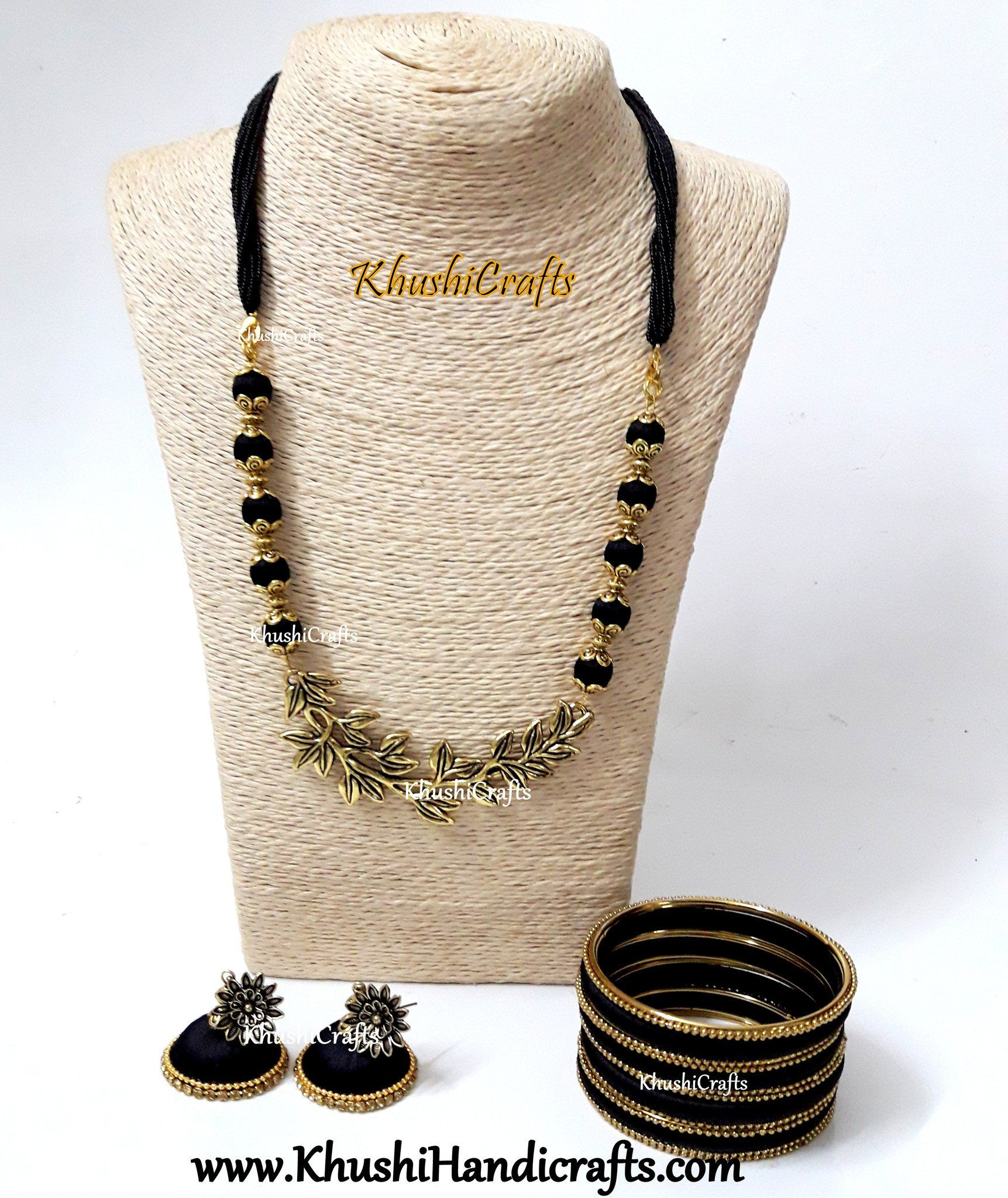 Black silk thread Necklace set with Multiple Leaf Pendant with a set of bangles! - Khushi Handmade Jewellery