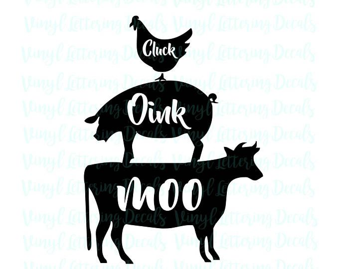 SVG file Cricut Cameo SVG file download Cluck Oink Moo graphic - moo digital