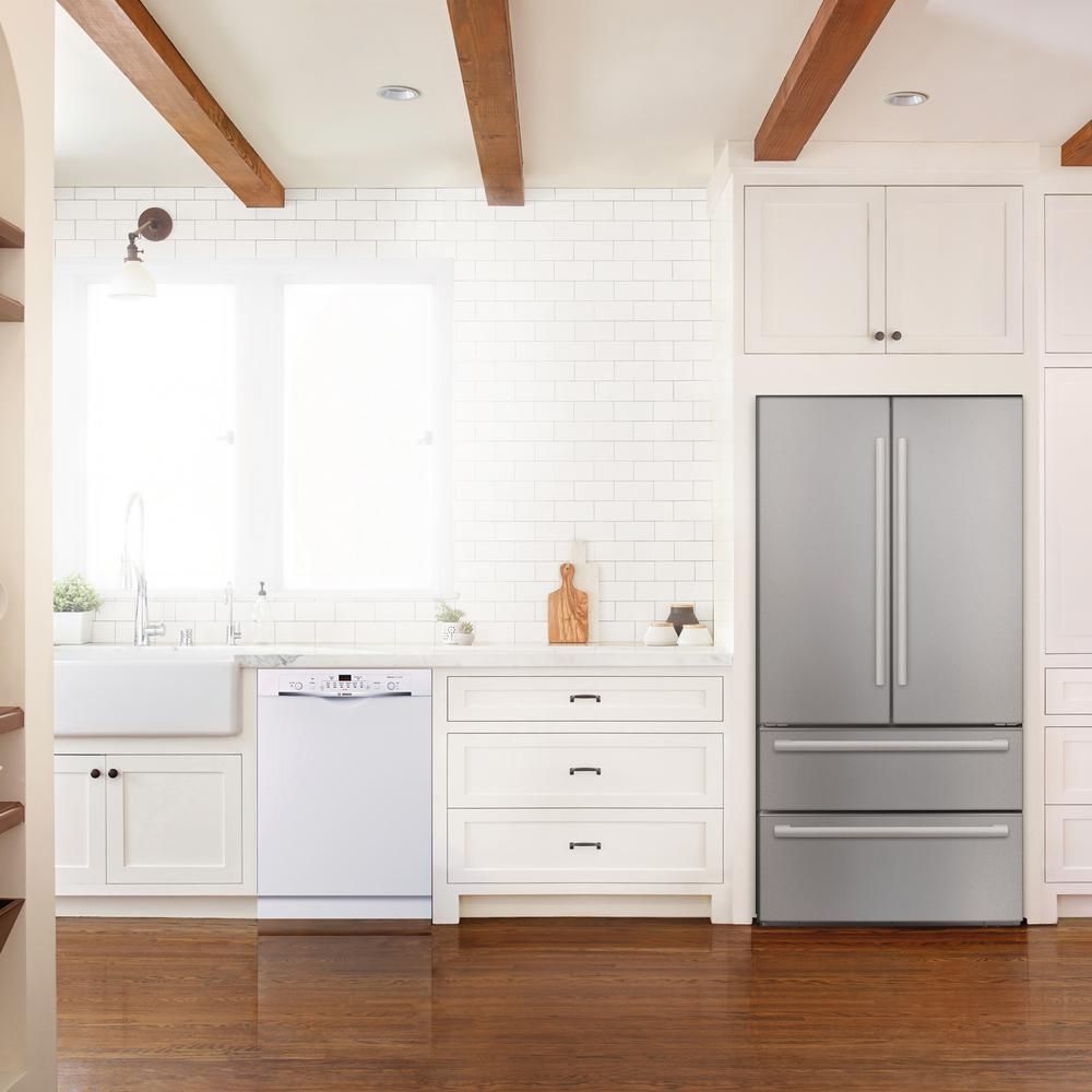 Bosch Ascenta 24 In White Front Control Tall Tub Dishwasher With Hybrid Stainless Steel Tub 50dba She3ar72uc The Home Depot Steel Tub Best Dishwasher Bosch Dishwashers